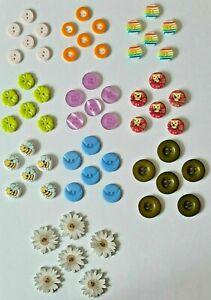 Job Lot - Knitters Pack 60 Assorted Buttons 10 Designs, 6 of Each Design