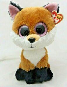 "TY Beanie Buddy Boos 9"" Slick Fox glitter Eyes Plush Animal toy EUC w/ tags"