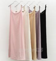 Women Cotton Linen Full Slip Under Dress Underskirt Petticoat Summer Chemise HOT