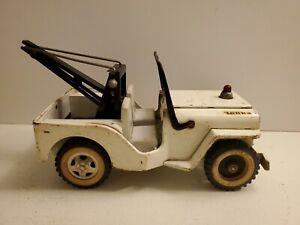 Vintage 1960s Tonka 435 AA Jeep White Wrecker Truck Pressed Steel Original Paint
