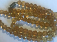 Vintage Art Deco Amber Faceted Czech Glass Necklace