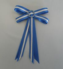 Junior Rider Equestrian Hair Ribbon Bow - Mid Blue & White Satin & Rhinestones