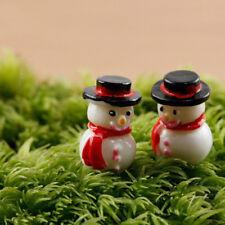 3pcs Christmas Snowman Figurines Decor Garden Statue Miniature Micro Landscape'
