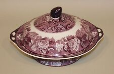 Enoch Wood & Son English Scenery Purple Round Covered Vegetable Bowl with Lid