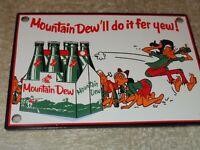 """VINTAGE DRINK MOUNTAIN DEW +HILLBILLY 6"""" PORCELAIN METAL SODA POP GAS & OIL SIGN"""