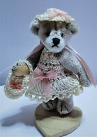 "Little Gem Teddy Bear 1.75"" White Crochet Dress Hat CHU MING WU 1996 Miniature"