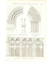 Antique Encyclopedia Print c1800s - English Cathedral Architecture. Durham