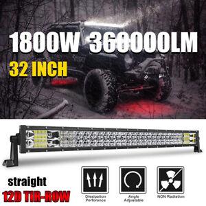 12D 32 inch 1800W LED Light Bar Spot Flood Combo Offroad Driving Truck 4WD pk 35