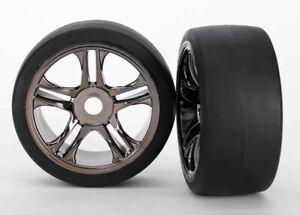 Traxxas TRA6479 Black Chrome Front Wheels(2) 118+MPH Slicks Tires: 1/7 XO-1/X0-1