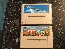 2 x Famicom NINTENDO SNES JP JPN JAP NTSC-J FORMAT GAMES PILOTWINGS + SIM CITY