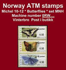 Norwegen ATM 10-12 / Butterfly / set MNH / machine # 0RW.... Vinterbro / Frama