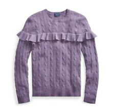 Ralph Lauren Lilac Ruffled Frill Cable Knit Jumper, size 6-8 X Small, bnwt