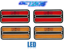 68-72 Chevy GMC Truck Front & Rear Side LED Amber Red Marker Light w/ Chrome Set