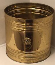 "Vintage Polished Brass Regency Lion Head Ash Bucket, England, Large 13.5"" Across"