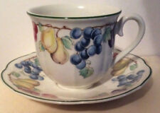 Villeroy & Boch Melina Flat Cup and Saucer Set Fruit with Green Edge Rim