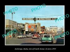 OLD POSTCARD SIZE PHOTO OF ANCHORAGE ALASKA VIEW OF 4th AVE & STORES c1955