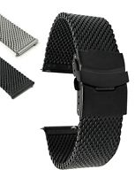 Bandini Extra Long 22mm Quick Release Steel Mesh Watch Band, Metal - Deployment
