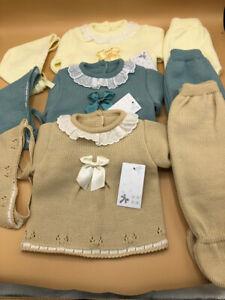 Baby babies boys girls knitted Spanish Newborn outfit & bonnet Lemon Green Beige