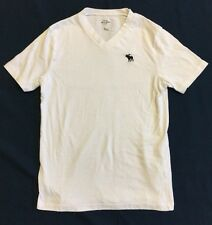 Abercrombie Kids Plain White V-neck T-shirt With Navy Moose Logo Sz M (12). EUC