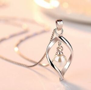 925 Sterling Silver Twisted Pearl Pendant Chain Necklace Womens Ladies Jewellery