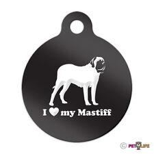 I Love My Mastiff Engraved Keychain Round Tag w/tab english Many Colors