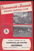 1958/59 BOURNEMOUTH V CHESTERFIELD 22-11-1958 Division 3