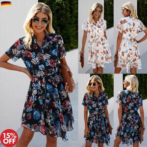 Damen Blumen Minikleid Boho Sommerkleid Tunikakleid Kurzarm Shirtkleid Strand DE