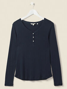 NEW Fat Face Maple Henley NAVY BLUE Ladies Top T Shirt 8 10 14 16