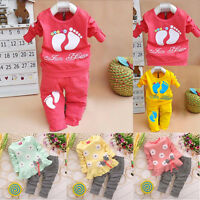 2PCS Toddler Kids Baby Girls Long Sleeve Outfits T-shirt Tops  Pants Clothes Set