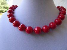 Schicke MUSCHELKERNPERLENKETTE Perlenkette rot 10 mm Kette Collier *c193