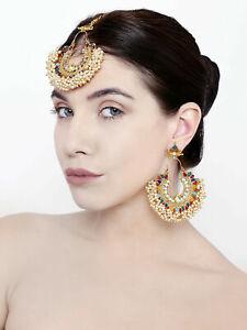 Indian Bangladeshi Multi Color Stone White Pearl Earrings Mang Tikka Women Set