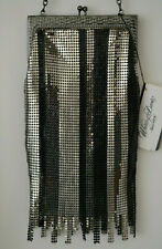 WHITING & DAVIS Deco Evening Mesh Purse Silver Black Stripe 80's 90''s  NWT NEW