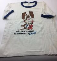 Lot C. QUIK Chocolate Drink Mix Promotional T Shirt Large As Is Well Worn