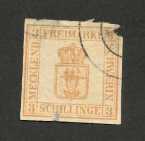 German States Mecklenburg Schwerin imperforated used stamp - damaged