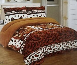 3 Pieces King Sherpa Blanket Super Soft Warm Reversible Printed Borrego Blanket