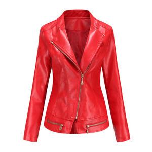 Ladies Pu Leather Jacket Thin Outwear Jackets Slim Outwear Collar Tops Women 4Xl