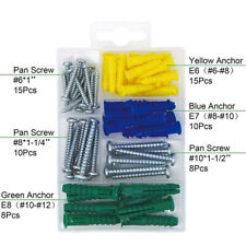Plastic Self Drilling Ribbed Drywall and Wall Anchors and Screws Kit,66 Qty Set