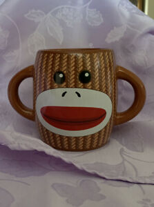 Galerie Sock Monkey Ceramic Coffee Cup Mug 16 oz  Brown Double Handle