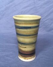 Vintage Studio Pottery Striped Glazed Porcelain Tall Thin Tumbler Cup Signed