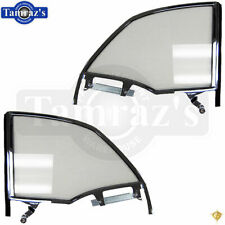 55-57 Chevy Bel Air CONV'T Rear Quarter Glass Window w/ Track Frame CLEAR Pair