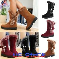 Women's Snow Boots Winter Shoes Warm Fur Lining Mid Calf Flats Buckle Booties US