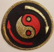 Martial arts patch red / gold / black ying yang peace harmony good bad