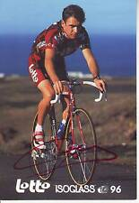 carte cycliste KURT VAN DE WOUWER équipe LOTTO ISOGLASS 1996 signée