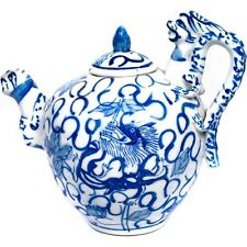 Chinese Blue & White Porcelain Teapot Multiple Dragons Flowers Signed w/ Lid