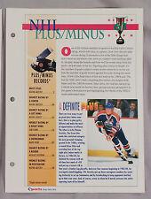 NHL PLUS MINUS RECORD BOOK WAYNE GRETZKY - SPORTS HEROES SHEET CARD