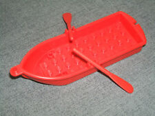 Lego RED Pirate Ship / Rowing Boat / Dingy + 2 Oars