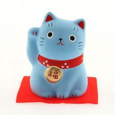 "Japanese 2-1/4""H Blue Ceramic Maneki Neko Lucky Cat Longlife Figurine Japan Made"