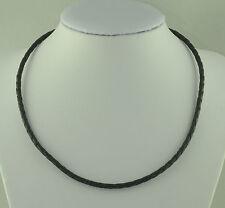 Cadena de cuero collar de piel con ACERO INOX. Mosquetón Cierre Negro hk50