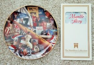 """MICKEY MANTLE """"THE MANTLE STORY"""" 6"""" PLATE 1995 HAMILTON COLLECTION W/ SIGNATURE"""