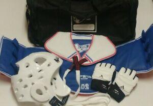 Youth Taekwondo Martial Arts Sparring Gear Chest Pad Helmet Gloves Duffle Bag